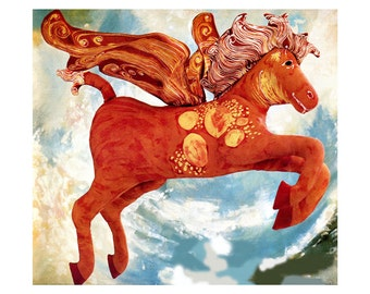 Batiked Pegasus Pattern Soft Sculpture Flying Horse Mythical Creatures Enchanted Decor Batik Wings Hang From Ceiling Vintage Sewing Pattern