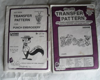 2 Nomis Hot Iron Transfers Embroidery Pretty Punch Looney Tunes Pepe Le Pew