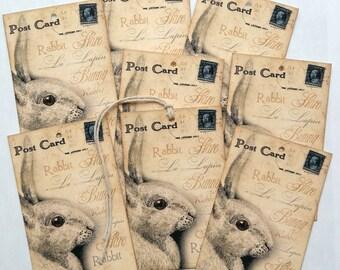 Bunny Rabbit Postcard Tags #20