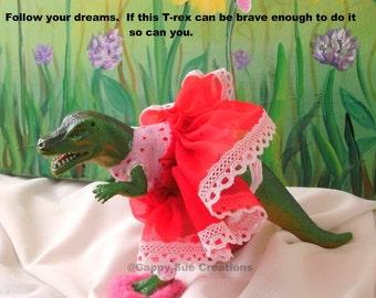 T-Rex tyrannosaurus rex ballerina party dress happy dinosaur art doll