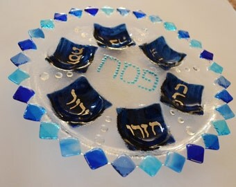 Flower glass fused Seder plate in blue shades Hebrew lettering by YafitGlass