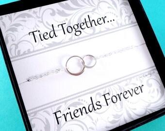 Friendship bracelet, Eternity bracelet, Bridesmaid gifts, sterling silver, two circles, friendship card, message card, briguysgirls, otis b