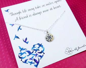 Friendship necklace, best friends gift, bridesmaid gift with message card, compass necklace, compass charm, college graduation gift