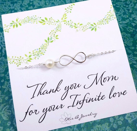 Mothers Day Gift, Necklace for Mom, Infinity Necklace, Mother in law gift, mother of the bride, mother of the groom, Pearl necklace, otis b
