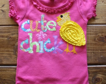 Easter Shirt for Girls, Valentines Day Shirt, Cute Chick Shirt, New Baby Gift, Easter Basket Gift, Made to Order, Girl Easter Outfit