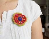 Felted Mandala Flower brooch, handmade whimsical pin, wool art brooch, boho statement, yoga tribal pattern, primitive statement pin, red