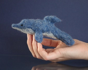Dolphin Felted Soft Sculpture, Dolphin miniature, Felted nautical toy, Waldorf toy, blue and white, dolphin party gift, baby shower gift