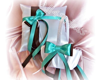 Chocolate brown and aqua blue wedding ring pillow and flower girl basket, ring cushion and basket set.