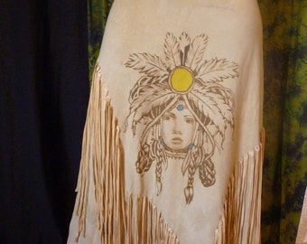 Original peoples Native America skirt fringe skirt long khaki skirt size M