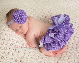 Purple Polka Dot Sassy Pants  Ruffle Diaper Cover Bloomer