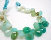 Peruvian Opal Beads, Faceted Briolettes, Peruvian Blue Opal Briolettes, Peruvian Opal, 9mm to 12mm, Wholesale Peruvian Opal, SKU 4269A