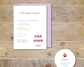 Cupcake Birthday Invitations, Cupcake Baby Shower Invitation, First Birthday Invitations, Second Birthday, Girl, Pink - Dainty Cupcake Stand