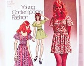 1970s Boho Dress Pattern Misses size 12 Simpliciy Young Contemporary Maxi Dress, Mini Dress Vintage Sewing Pattern 70s
