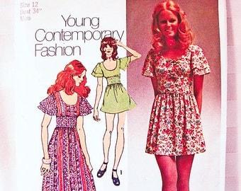 1970s Boho Maxi Dress Pattern Misses size 12 Simplicity Young Contemporary Pattern Long Dress, Mini Dress Vintage Pattern
