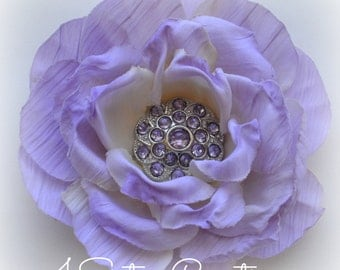 Lilac Artificial Flower with Custom Lavender Rhinestone Center