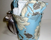 READY TO SHIP - 7 Piece Spa Gift Set in Blue with Bucket, Heat Pack, Eye Mask, Towel Set and Zippered Pouch