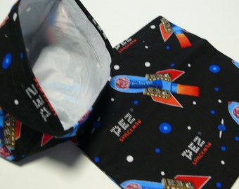 2pc  Reusable Sandwich and Snack Bag PEZ Spaceman Black