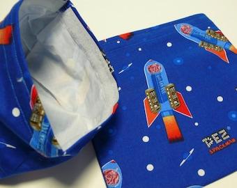2pc  Reusable Sandwich and Snack Bag PEZ Spaceman Royal Blue