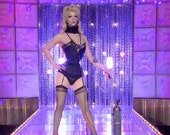 The Violet  single layer Underbust Corset of Spot Broche Coutil Tightlacers As seen on Ru Paul's Drag Race