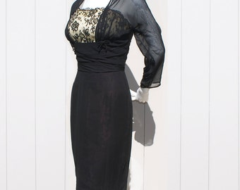 Vintage 50's Black CAROL ROBINS Illusion Lace Wiggle Cocktail Dress with Rhinestones, Ruched Empire Waist and Shelf Bust