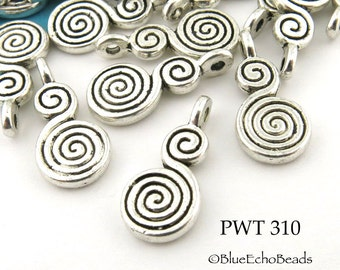 18mm Pewter Double Spiral Charm, Antique Silver (PWT 310) 15 pcs BlueEchoBeads