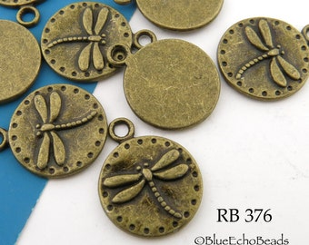 15mm Small Dragonfly Charm Pewter Antiqued Brass Bronze Coin Charm (RB 376) 8 pcs BlueEchoBeads