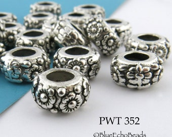 11mm Large Hole Floral Ring Beads Pewter Ring, Antique Silver (PWT 352) blueecho 8 pcs