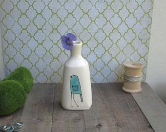 Blue bird vase, turquoise bird vase, small bird flower vase, ceramic spring flower garden vase