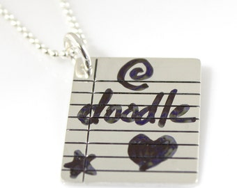 Write On/Wipe Off Binder Paper Necklace - Tattle Tales in Sterling Silver - by Punky Jane