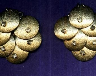 Vintage Clip Earrings crystal cluster discs mid century hollywood regency jewelry
