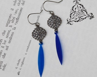 Holiday earrings, jewel tone sequin and metal statement earrings, cobalt blue feather style