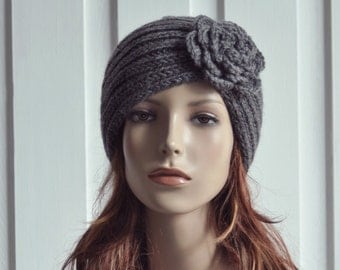 Hand Knit Hat woman Wool  Beret Hat with crochet flower CharcoalDark Grey - ready to ship