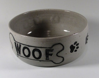 Ceramic Dog bowl - Woof - Bone - Paw prints - White - Wheel thrown Water Bowl - Handmade Pet Feeder - Stoneware Dog Dish - Pottery Dog Bowl