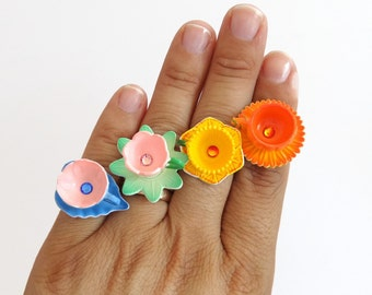 Miniature flower teacup ring - pumpkin teacup - miniature tea cups