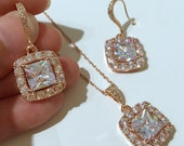 Rose Gold Bridal Jewelry Set, Princess Cut Cubic Zirconia Earrings, Pave Cz Necklace, DIAMANT