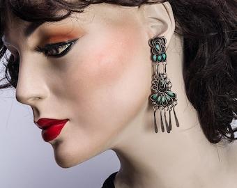 Zuni Turquoise Earrings - Mid Century Chandelier Sterling Clips - Petitpoint