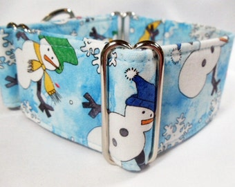 Dapper Snowmen on Blue Cotton Greyhound, Whippet, Galgo, Pit Bull, Dog, Sighthound Martingale Collar