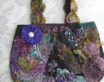 HANDBAG,  Peacock Colours Hand Dyed Lace flowers