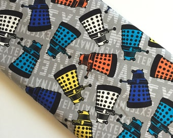 Doctor Who Rainbow Daleks Toss BBC Cotton Woven By the yard