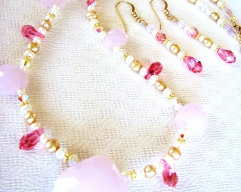 Pink Chalcedony Pendant Necklace & Earrings, Swarovski Crystal Jewelry, Gold Filled Necklace, Handmade Gift Set For Her, Ready To Ship
