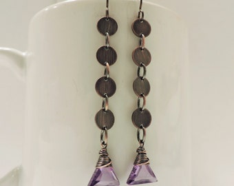 Long Antique Copper Disc Earrings with Wire Wrapped Cubic Zirconia Triangles
