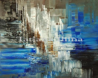 Abstract Palette Knife Original Painting Glacier Art Handmade Large blue white by ILIINA - Made-to-order