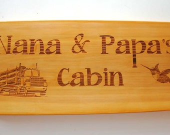 Custom Engraved Cedar Sign Laser Engraved Wood Sign Personalized Rustic Cabin Sign