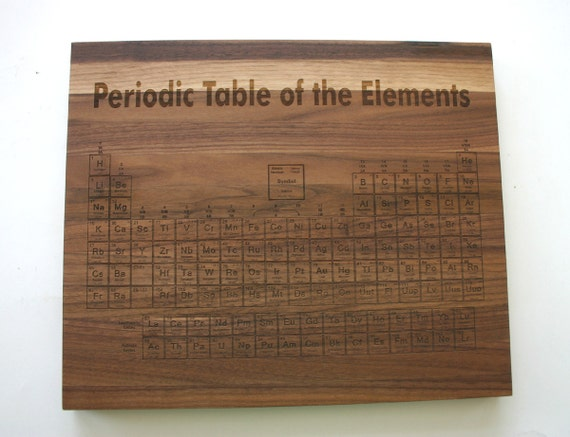 Periodic table engraved walnut cutting board cutting board laser engraved chemstry gift - Periodic table chopping board ...