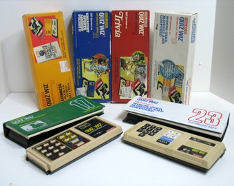 Vintage Coleco Computer Quiz Wiz Answer Game Lot 5 Games & 2 Electronic Computers