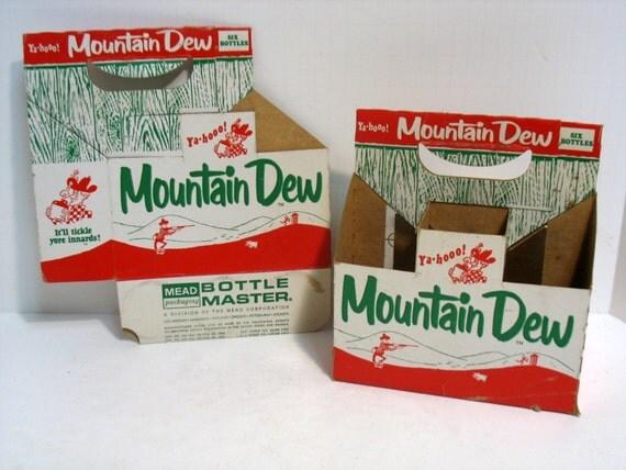2 Vintage Mountain Dew Six Pack Bottle Carriers Hillbilly Ya-hoo!  Pop Soda Advertising