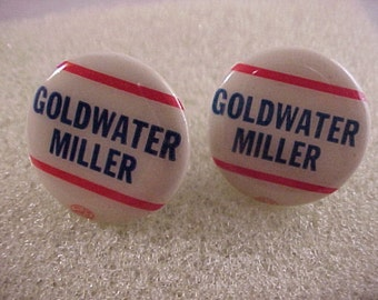 Vintage Barry Goldwater Campaign Pin Cuff Links - Free Shipping to USA