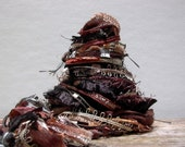 animal attraction fringe effects™  21yds of specialty art yarns fiber bundle . brown black copper gold tan