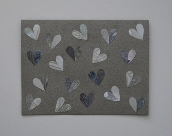 Silver Hearts Valentine Note Card, Hand Cut Vintage Wallpaper, OOAK, Shine and Texture, I Love You, Romance, Valentines's Day, Anniversary
