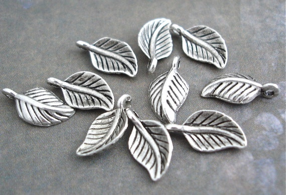 10 Antiqued Silver Tiny Leaf Charms